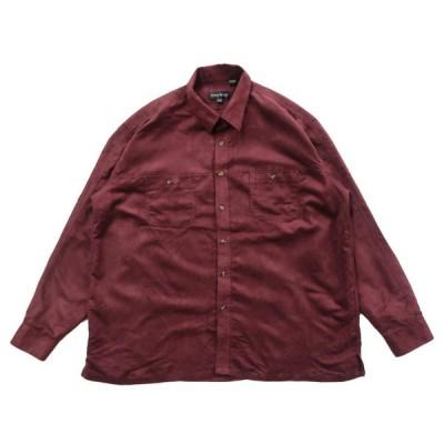 GENNY ARMANI フェイクスウェード ボックスシャツ 長袖 ワインレッド サイズ表記:2XL