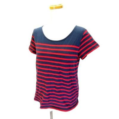 【中古】ローリーズファーム LOWRYS FARM Tシャツ カットソー 半袖 ボートネック 紺 ネイビー L レディース 【ベクトル 古着】