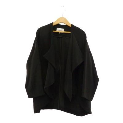 ENFOLD ダブルサテンドレープ ノーカラージャケット ブラック サイズ:36 (元町店) 201201