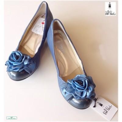 ベルパーチ ブルーパンプス 24.5センチ ワイズEEE 日本製 青 靴 80393