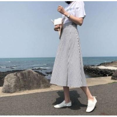 韓国 オルチャン スカート ギンガムチェック ハイウエスト フレアスカート カジュアル チェック お出かけ