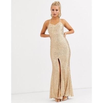 ジャーロ レディース ワンピース トップス Jarlo cami strap sequin gown with back detail in gold