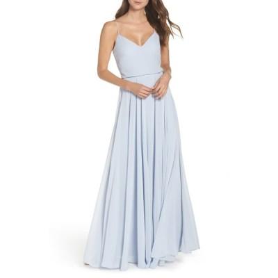 ジェニーヨー ワンピース トップス レディース Inesse Blouson Chiffon A-Line Gown Whisper Blue
