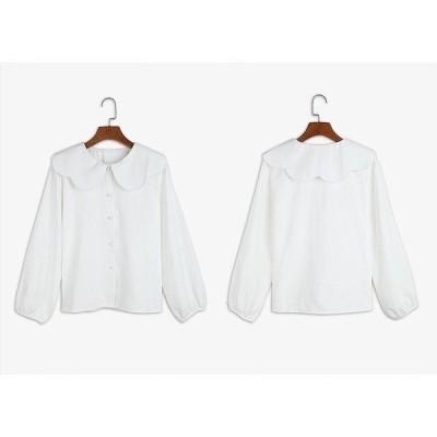 レディースブラウス大きな襟レトロロングシャツ長袖トップスホワイト白フリーサイズ