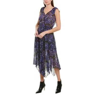 ザ・クープルス レディース ワンピース トップス The Kooples Pleated Midi Dress black and purple floral