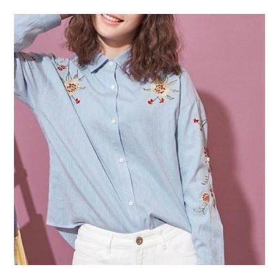 トップス  シャツ ブラウス 長袖 刺繍ブラウス 花柄 刺繍 ストライプ ブルー ロールアップ かわいい 春 夏 春ブラウス 爽やか ガーリー 女の子 ママ