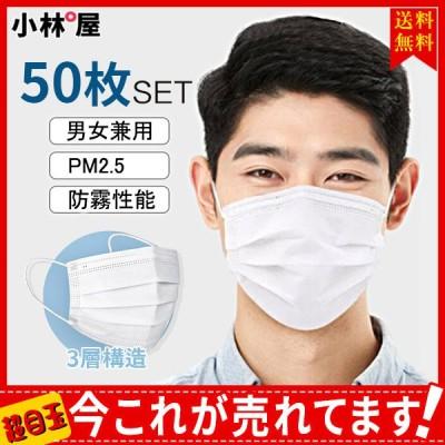 送料無料 50枚入り 大人用マスク 男女兼用 立体マスク 使い捨て PM2.5 3層構造 防霧性能 不織布 防霧性能 レディース 耳が痛くない