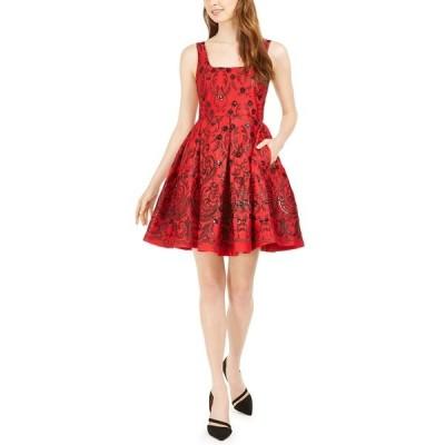 テイラー ワンピース トップス レディース Sequined Fit & Flare Dress Red