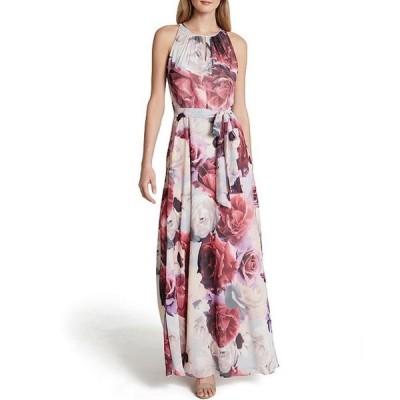 タハリエーエスエル  レディース ワンピース トップス Floral Printed Chiffon A-Line Gown