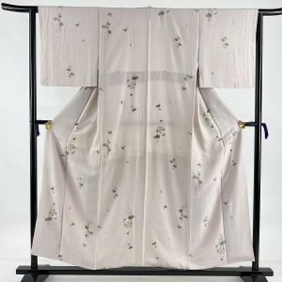 小紋 名品 草花 金糸 刺繍 薄紫 袷 身丈154cm 裄丈62.5cm S 正絹 中古