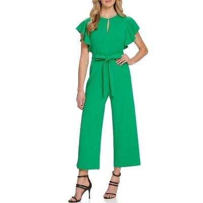 ダナ キャラン ニューヨーク レディース ワンピース トップス Keyhole Neck Ruffle Sleeve Tie Waist Cropped Chiffon Jumpsuit Grass Green