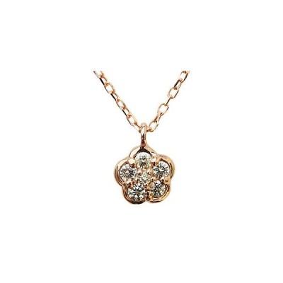 ダイヤモンド ネックレス ペンダント K18 ピンクゴールド 花 フラワー