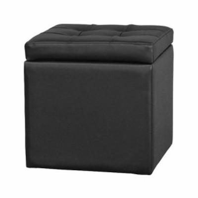 角形スツール(収納付き)椅子 ブラック