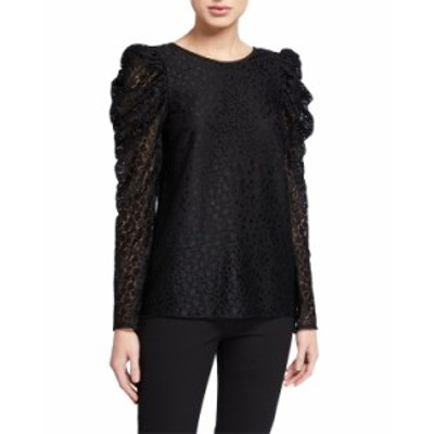 ケイトスペード レディース シャツ トップス flora leopard lace long-sleeve blouse BLACK