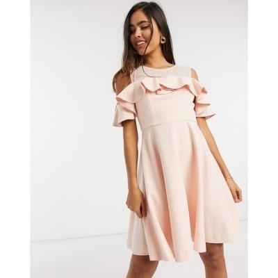 フレンチコネクション ミディドレス レディース French Connection alissia flare cold shoulder dress in pink エイソス ASOS