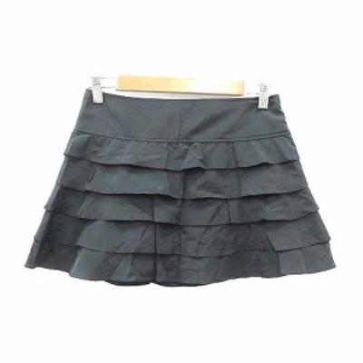 【中古】ジルスチュアート JILL STUART 台形スカート ミニ ティアード 0 黒 ブラック /YK レディース