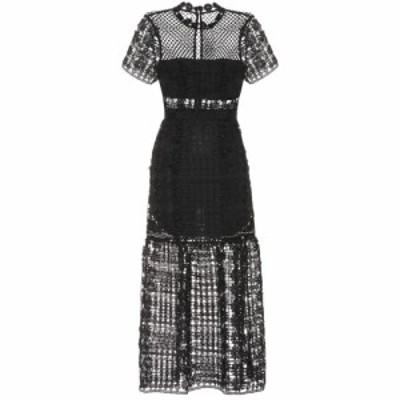 セルフ ポートレイト Self-Portrait レディース パーティードレス ワンピース・ドレス Lace midi dress Black