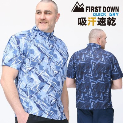 半袖 シャツ 大きいサイズ メンズ 吸水速乾 総柄プリント ハーフジップ スポーツ スタンド ランニング FIRST DOWN BASIC