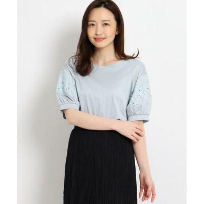 SunaUna/スーナウーナ マニカジャージ 袖刺繍カットソー サックス(090) 40(L)