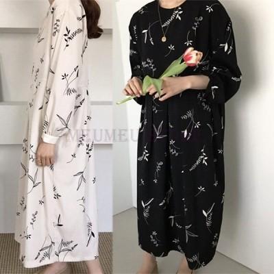 ワンピースレディースオシャレ花柄スプリントマキシ丈上品ロングワンピース長袖部屋着ゆったり202040代