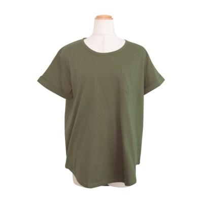 アンドジェイ ANDJ ポケット付きラウンドカット半袖Tシャツ (カーキ)