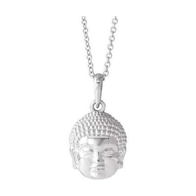"14k White Gold 14.7x10.5 mm Meditation Buddha 16-18"" Necklace for Women【並行輸入品】"