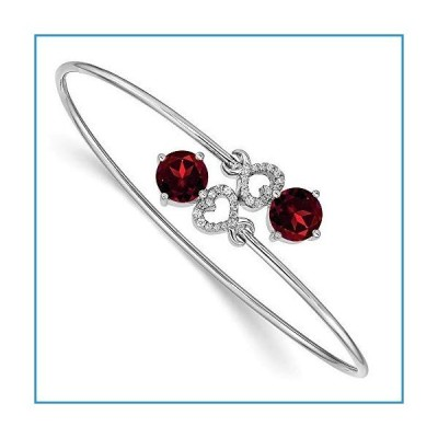 """新品Solid 14k White Gold Garnet January Red Gemstone Flexible Bangle Cuff Bracelet 5/16 7"""" (Width = 8mm) (.134 cttw.)【並行輸入品】"""