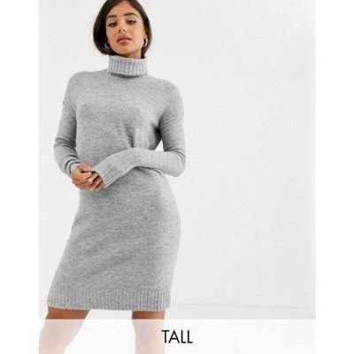 ヴェロモーダ Vero Moda Tall レディース ワンピース ワンピース・ドレス knitted roll neck dress in grey グレー
