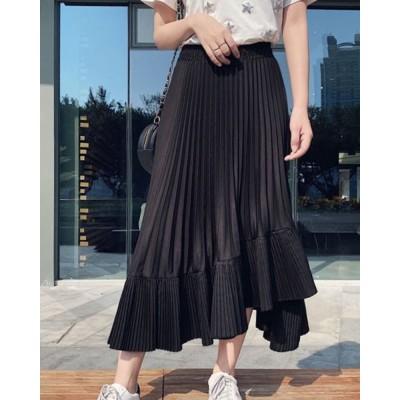 変形プリーツスカート(ブラック×FREE)