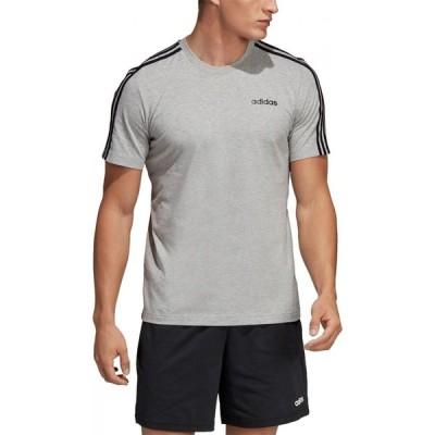 アディダス adidas メンズ Tシャツ トップス 3 Stripe T Shirt MedGrey/Black