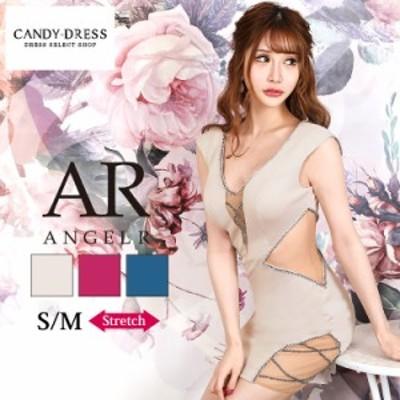 S/M 送料無料 Angel R/エンジェルアール ストレッチ無地×シースルー切り替えビジューラインノースリーブタイトミニドレス AR20825 キャ
