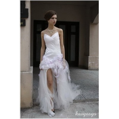 wd817 天使をイメージしたスリット入りウエディングドレス  販売