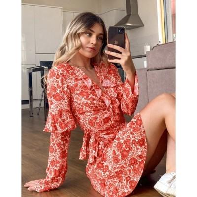トップショップ レディース ワンピース トップス Topshop wrap mini dress in red floral print