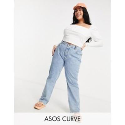 エイソス レディース デニムパンツ ボトムス ASOS DESIGN Curve mid rise 90s straight leg jeans in vintage lightwash Lightwash