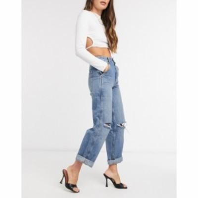 エイソス ASOS DESIGN レディース ジーンズ・デニム ボトムス・パンツ high rise worker jeans in midwash ブルー