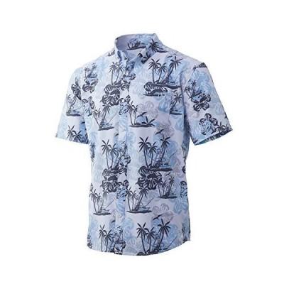 HUK Kona Short Sleeve Shirt   Performance Button Down, Paradise Pass - Whit