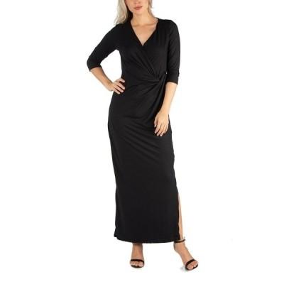 24セブンコンフォート ワンピース トップス レディース Women's Ankle Length Side Slit Formal Maxi Dress Black