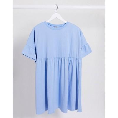 エイソス レディース ワンピース トップス ASOS DESIGN super oversized ruffle-sleeve smock dress in chambray blue