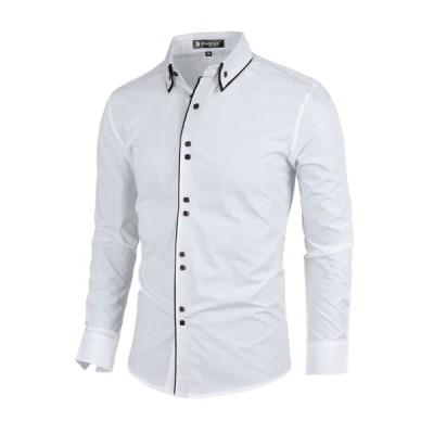 uxcell Allegra K メンズ ボタンダウンシャツ 長袖 スリムフィット フォーマル ホワイト M/38