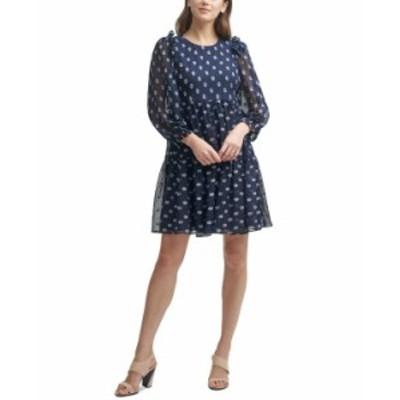 カルバンクライン レディース ワンピース トップス Petite Clip-Dot A-Line Dress Indigo/White