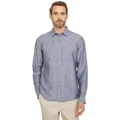 マイケルコース シャツ トップス メンズ Long Sleeve Linen Tencel Button-Down Dark Midnight