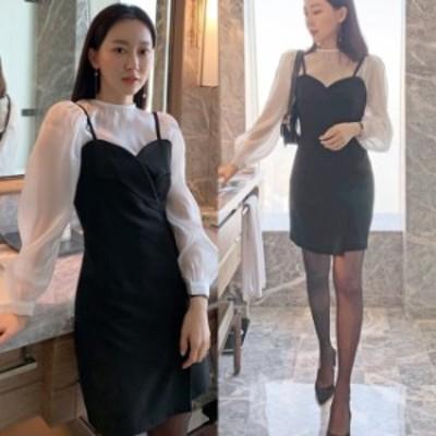 春夏 レディース ドレス ワンピース 2点セット お呼ばれ ワンピース 韓国 ファッション レディース シースルー ブラウス ミニドレス レ