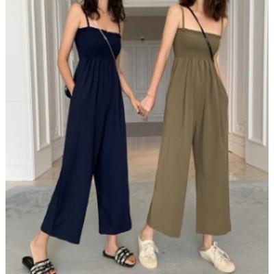 韓国 ファッション レディース オールインワン ワイドパンツ ハイウエスト シャーリング リゾート シンプル 大人可愛い カジュアル