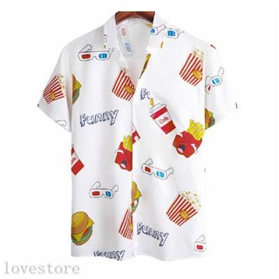 夏用 カジュアルシャツ メンズ ラペル 半袖シャツ 薄手 涼しい 折り襟 カーディガン バーガープリント 五分丈 柔らか 快適 速乾 吸汗