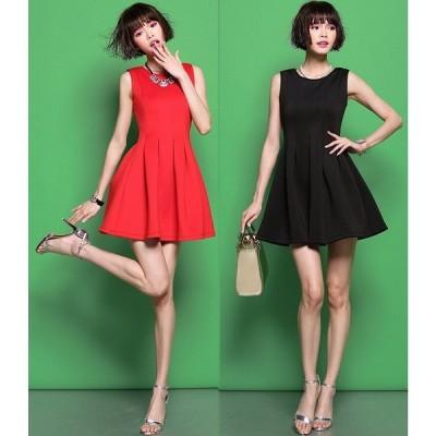 品質保証 XS〜4L 出かけ 呼ばれ パーティー 二次会 シンプル Aライン ドレス ワンピース