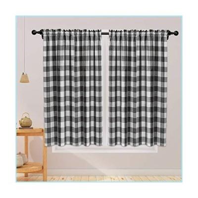 新品Cotton Curtains Black and White Buffalo Gingham Check Curtain Panels 63 inches Long Living Room Drapes Plaid Checker Kitchen Bedroom W