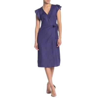 アストール レディース ワンピース トップス Linen Blend Wrap Midi Dress INDIGO