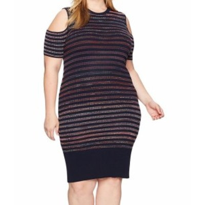 Rachel Roy レイチェルロイ ファッション ドレス RACHEL Rachel Roy NEW Blue Womens Size 0X Plus Striped Sweater Dress