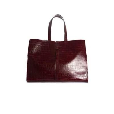 L'Intervalle Women's Coco Tote Bag, Bordo Croco, Xx Grande 並行輸入品