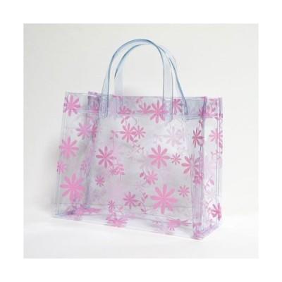 (メール便OK) (透明バッグ) (おしゃれ) (かわいい) フラワー ビニールバッグ SSサイズ ピンク(日本製)